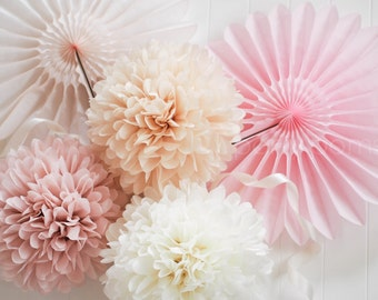 Custom Color .. 50 Tissue Pom Poms .. Wedding Decoration / Bridal Shower / Birthday / Party Decoration / DIY