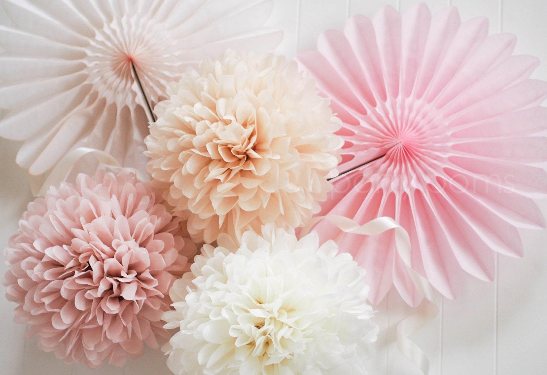 custom color 50 tissue pom poms wedding decoration. Black Bedroom Furniture Sets. Home Design Ideas