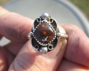 CLEARANCE SALE - Sterling Silver Fire Agate Ring - Size 9 1/4