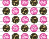 INSTANT DOWNLOAD...Editable Pink & Green Camo.... 1.313 inch Circle Images Collage Sheet for 1 Inch Buttons ...Buy 3 get 1
