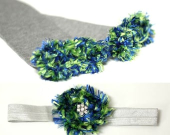 Green Blue Silver Seattle Seahawks Baby Leg Warmers Headband Set
