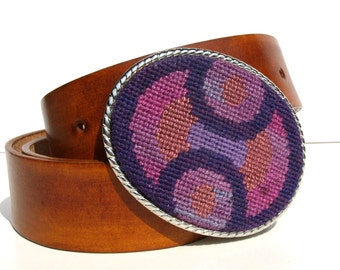 Needlepoint Plum Geo Optic Belt Buckle