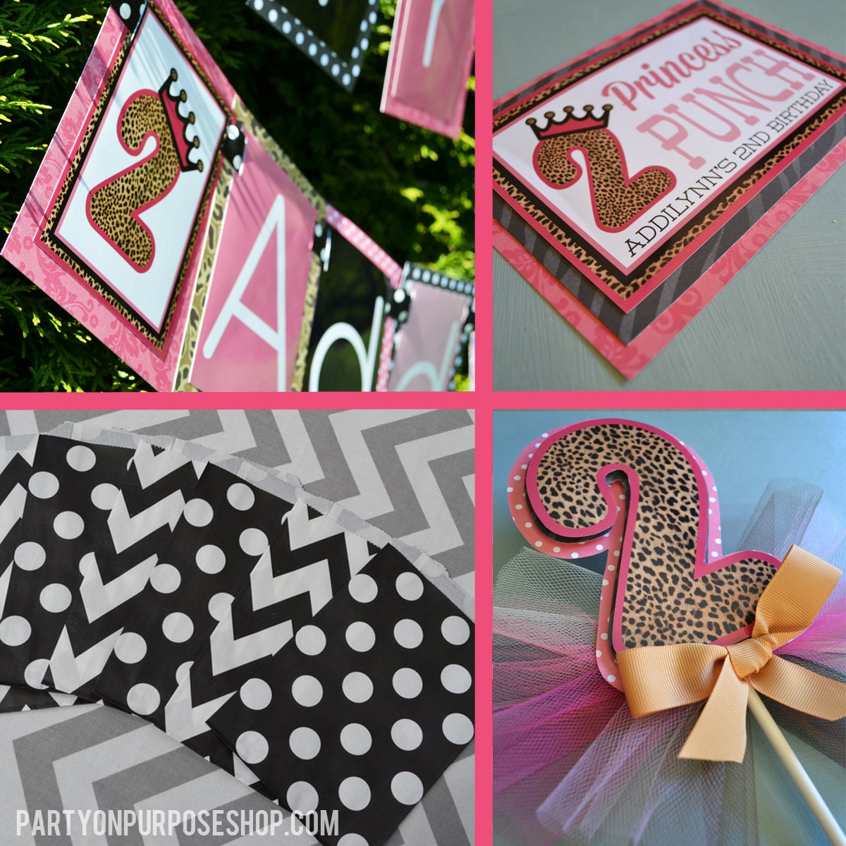 Leopard print princess birthday party decorations pink black for Animal print party decoration ideas