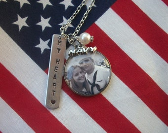 Special Military Necklace - Navy, Army, Airforce, Marine - Custom Photo - Loved Ones - Special Event - Tree of Life - Antique Silver
