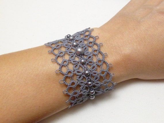 Tatted Jewelry Lace Cuff Bracelet -Obsession MTO many color choices