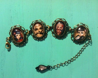PIN UP big eye sexy and sassy Rockabilly Burlesque vixens  picture bracelet by Nina Friday