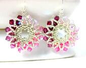 Pink Ombre Earrings, Pink Crystal Earrings, Hoop Earrings, Beadwork Earrings, Beaded Earrings, Pink & Silver Earrings - Ferris Wheel