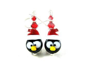 Penguin Earrings Christmas Jewelry Holiday Earrings Santa Penguin Lampwork Earrings Office Party Earrings Bird Earrings - Penguin Santa