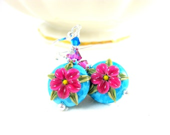 Hot Pink Turquoise Blue Floral Earrings, Flower Earrings, Lampwork Earrings, Aqua Blue Pink Glass Earrings, Botanical Earrings - Annie