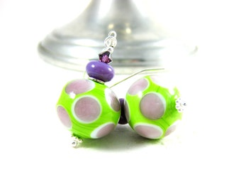 Polka Dot Earrings, Murano Earrings, Beach Earrings, Lime Green & Purple Glass  Earrings, Lampwork Earrings, Beach Jewelry - Beach Balls