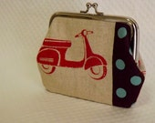 Coin purse - Red Scooter Coin Purse - Change Purse - Cotton Coin Purse