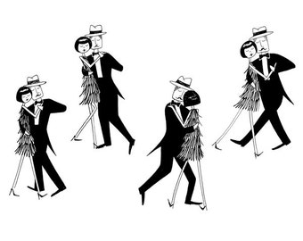 Eloise swept him off his feet  // Romantic dancing couple valentines day black and white flapper art print