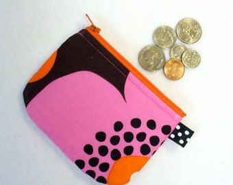 CLEARANCE SALE Mini Coin Purse Michael Miller Modern Flora Fabric Zipper Change Purse Daisy Hot Pink Orange Brown Handmade