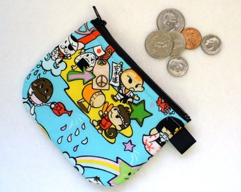 CLEARANCE SALE Japanese Anime Kawaii Fabric Coin Purse Cute Zipper Change Purse Japan Cartoon Desert Island