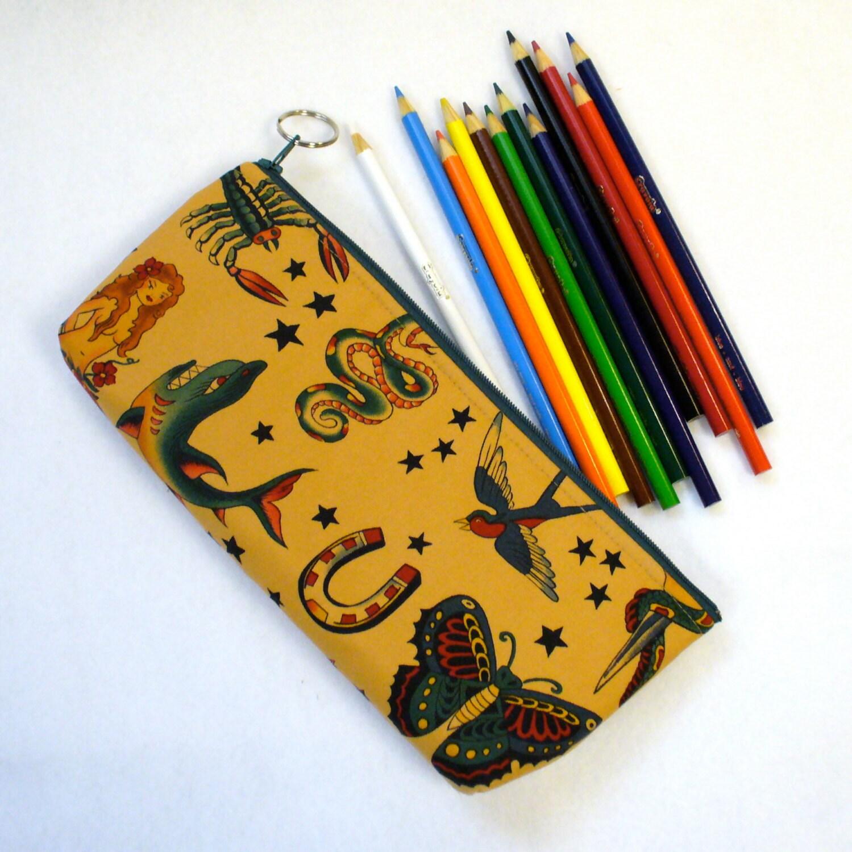 Tattoo Fabric Pencil Case Zipper Pouch Makeup Brush Cosmetic