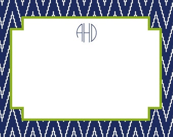 Navy Ikat Chevron Stationery, Notecards, Invitation Set