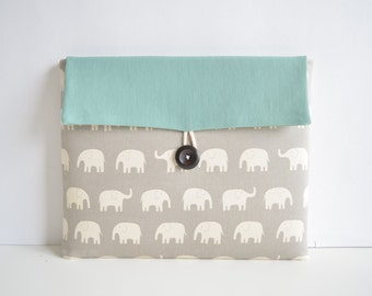 "Laptop Cover Clutch, Laptop Case for 11"" or 13 inch MacBooks, Custom Laptop Sleeve - Elephants"