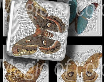 Mosaic Butterflies - 63  1x1 Inch Square JPG images - Digital  Collage Sheet