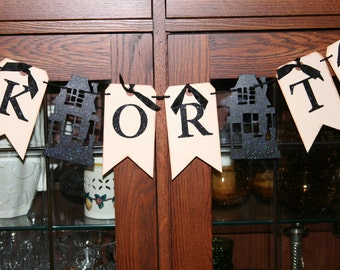 Trick or Treat Banner, shipping tags and glittery haunted houses!