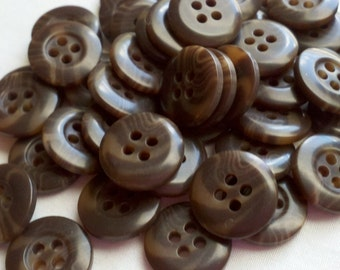 "Brown Multi Colored BULK Buttons - 9/16"" (15mm) - YOU PICK Quantity - 50 - 500"