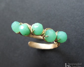 Green Chrysoprase Ring, Gold Chrysoprase Ring, Chrysoprase Jewelry, Gemstone Ring, Green Stone Ring, Adjustable Size Ring, Gold or Rose Gold