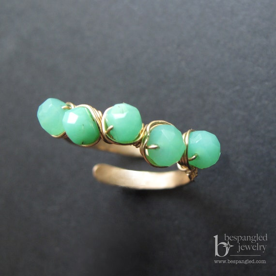 Mint Green Chrysoprase Ring, Gemstone Ring, Green Chrysophase Ring  - Adjustable Ring in Gold or Rose Gold