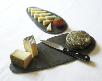 Set of 2 Sushi, Cheese, Pastry & Fruit Salvaged SLATE ALA PLATTERS - Wedding Registry, Housewarming, Host, Birthday Gift