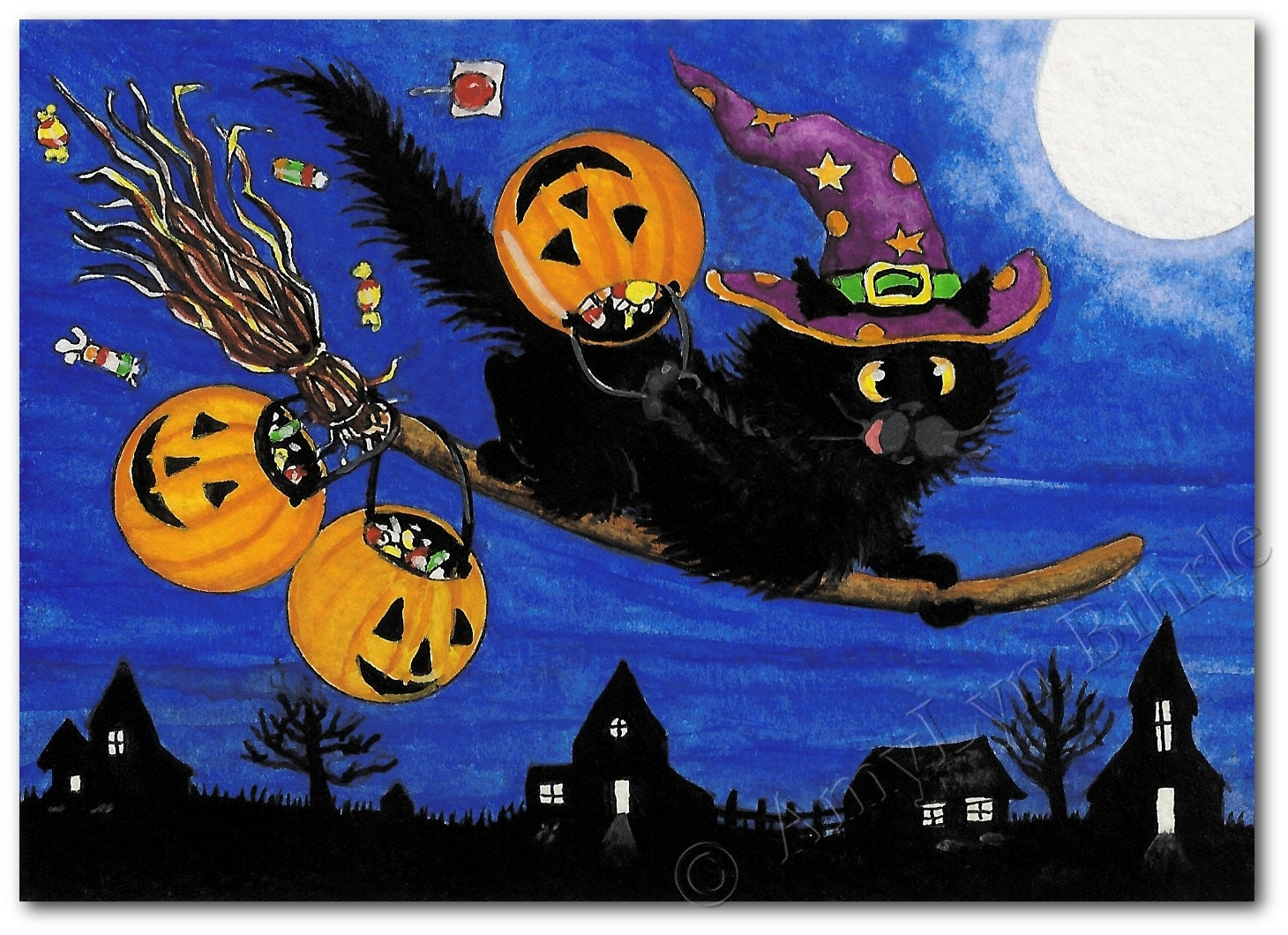 Black Cat Happy Halloween Trick Or Treat Express Art Print