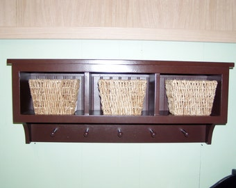 Cubby Coat Rack 3 Cubbies for Bath Or Entryway With Shaker Pegs Country Style Wall Shelf