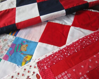 Lot 3 vintage quilt top RED, unfinished patchwork , de stash quilt fabric, quilt tops lot