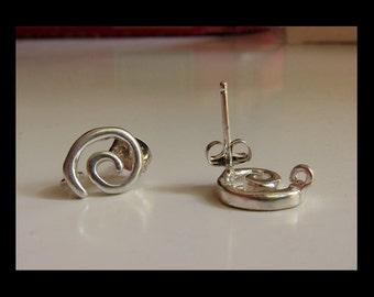 Silver Swirl Post Earrings - (1 pair)