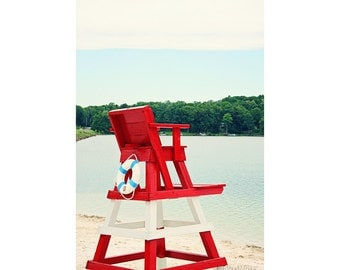Summer Photography - Lifeguard Stand Photograph -  Lake House Decor in Red White and Blue