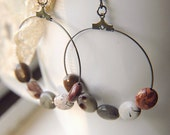 Bohemian Hoop Earrings Coffee Bean Jasper  - Patchwork.
