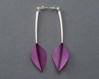 Minimalist Drop Real Feather Earrings in Shiny Royal Purple Leaf Shapes & Long Stems on Silver Studs