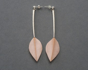 Minimalist Stud Feather Earrings in Champagne Beige Leaf Shapes with Long Silver Stems
