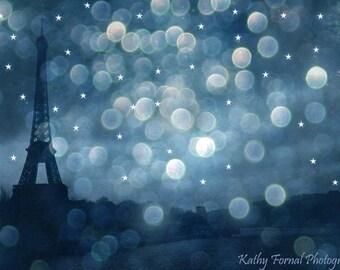 Paris Photography, Eiffel Tower Blue Sapphire Celestial Print, Eiffel Tower Night Stars Art Print, Paris Blue Starry Night Wall Art Prints