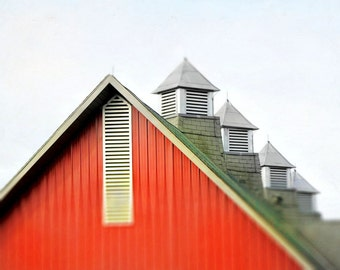 "Old rustic barn summer photography colorful geometric rural architecture grey    - ""Red barn"" 8 x 10"