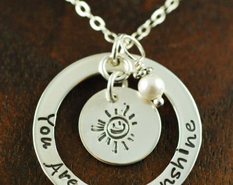 You are my sunshine Necklace, Hand Stamped Mommy Necklace, Personalized Jewelry, Mommy Jewelry