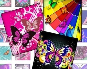 Magical Butterflies 1 In Digital Collage Sheet -patera tags glass scrabble jewelry pendants - U print 300dpi jpg