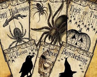 Arachnophobia Halloween Tags 3.5x4.5 Digital Collage Sheet decor greeting cards postcard ATC ACEO - U Print 300dpi jpg