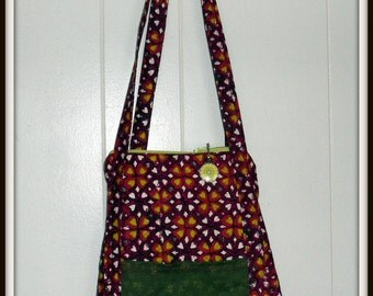 SHOULDER BAG - QUILTED - Burgundy with Green - Long Sturdy straps - Zippered - Pockets