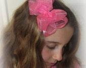 Organza Hair Bows, Girls Organza Hairbows, Lot Set of 8 Bows, Baby Double Layered Hair Bows, Toddler Girl Bows, Bows for Teens, Wedding Bows