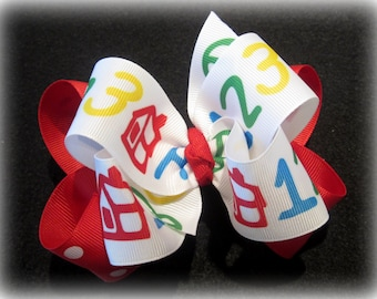 Back to School House ABC 123 Double Layered Hair Bow Spikey Lush Boutique Princess Big Hairbow Primary Colors