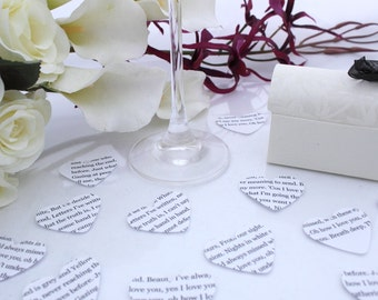 Personalized wedding confetti paper heart- 200 customized white die cut large punched hearts 3.5cm by 3cm- Great romantic table decoration