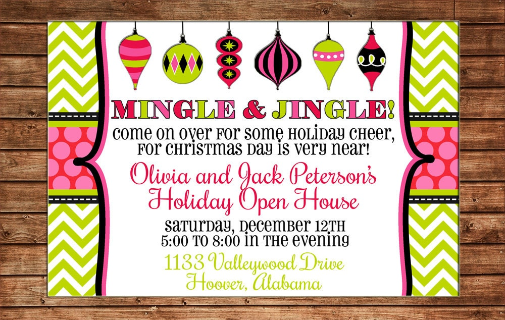 Holiday Christmas Ornament Swap Dirty Santa Girls Party Open House – Open House Party Invitation