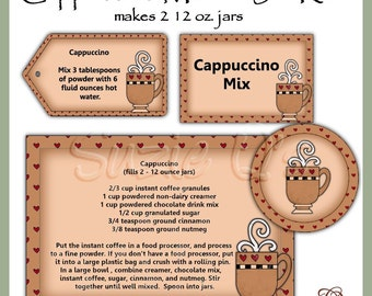 Make your own Cappuccino Mix in a Jar - Labels, Tag and Recipe - Digital Printable Kit - Great Gift Idea - Immediate Download