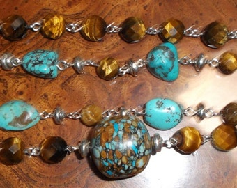 Turquoise and Tigers Eye Necklace