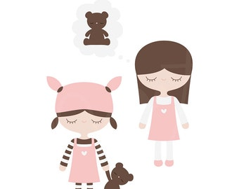 Sleepy Girls Digital Clipart Clip Art Illustrations - instant download - limited commercial use ok