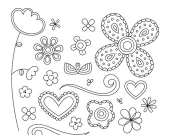 Doodled Vo2 Digital Stamps Clipart Clip Art Illustrations - instant download - limited commercial use ok