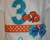 Girls Clownfish Birthday Ribbon Shirt